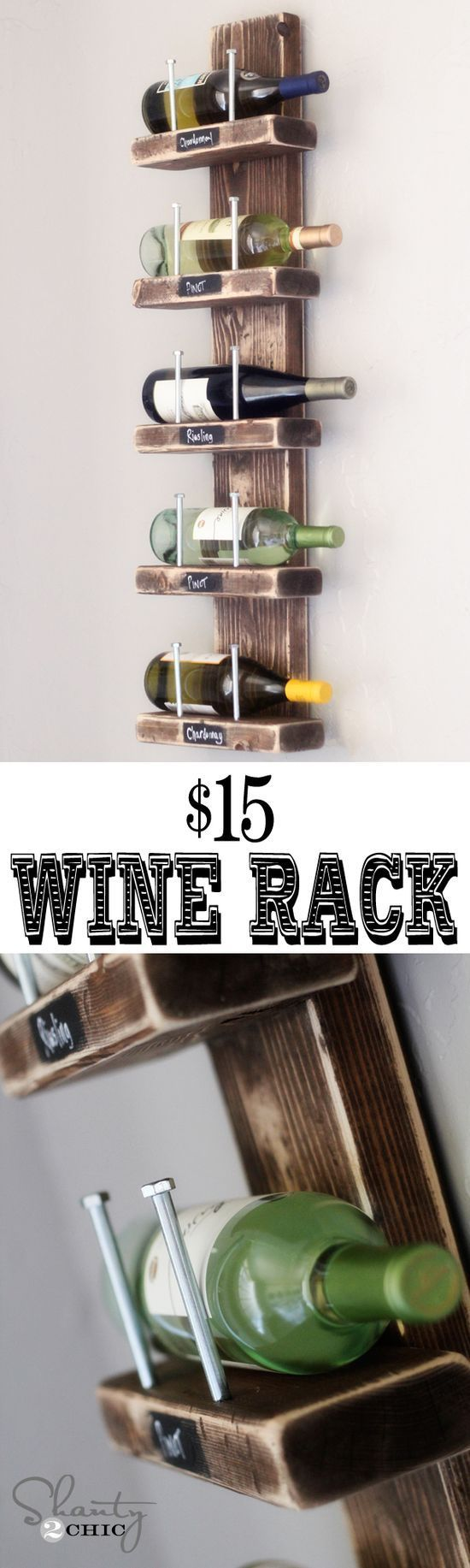 Frugal and creative . . . really like the chalkboard paint on the front of each. For the basement bar? Love this diy wine rack!