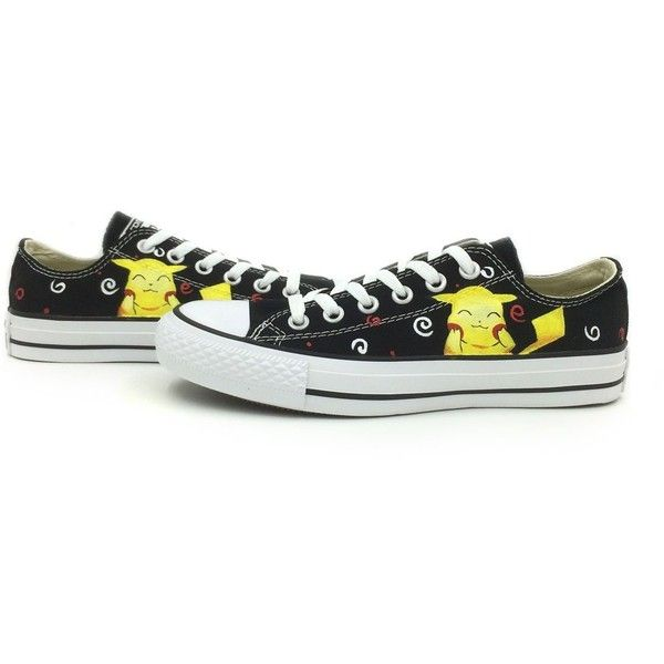 Pikachu Low Top Black Converse Shoes Hand Painted All Star Sneaker ($65) ❤ liked on Polyvore featuring shoes, sneakers, converse, pokemon, converse sneakers, low profile sneakers, converse trainers, kohl shoes and black trainers