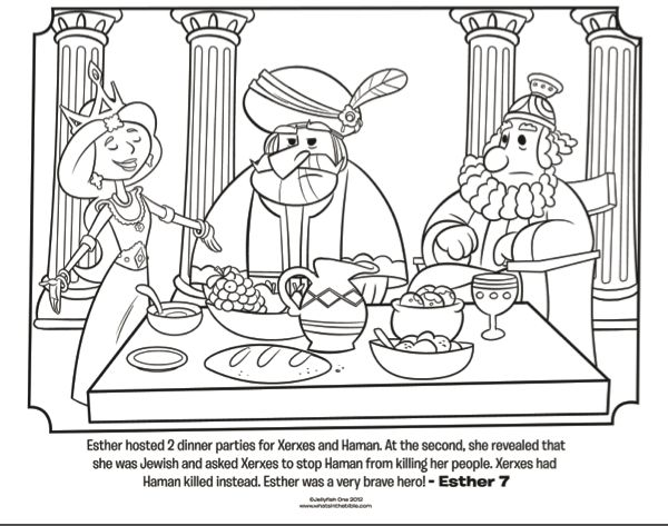 Esther Dinner Party Bible Coloring Pages What S In The Bible
