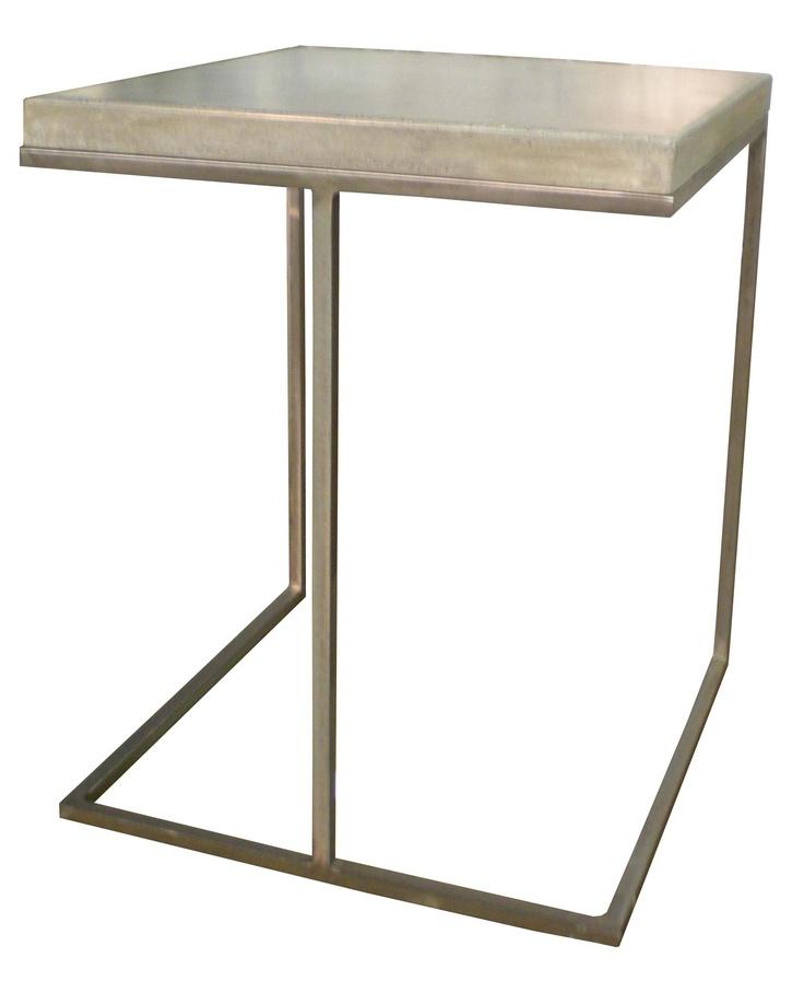 BRADLEY U0027Francisu0027 Contemporary Side Table In Warm Platinum Iron Finish And  Heather Concrete Top
