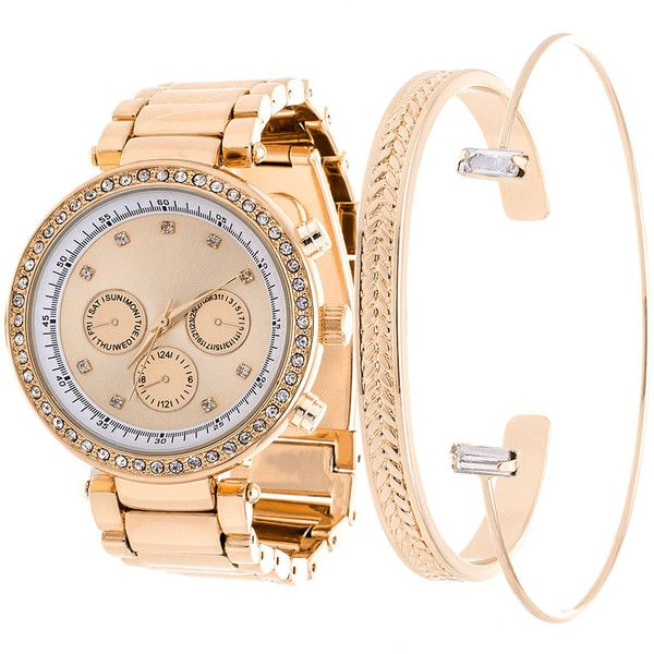 Women's Arm Candy Women's Stainless Steel Watch and Jewelry Bangle Set (1,155 INR) ❤ liked on Polyvore featuring jewelry, watches, gold, jewelry & watches, women's watches, stainless steel jewellery, stainless steel jewelry, stainless steel jewelry set, bangle watches and stainless steel bangles