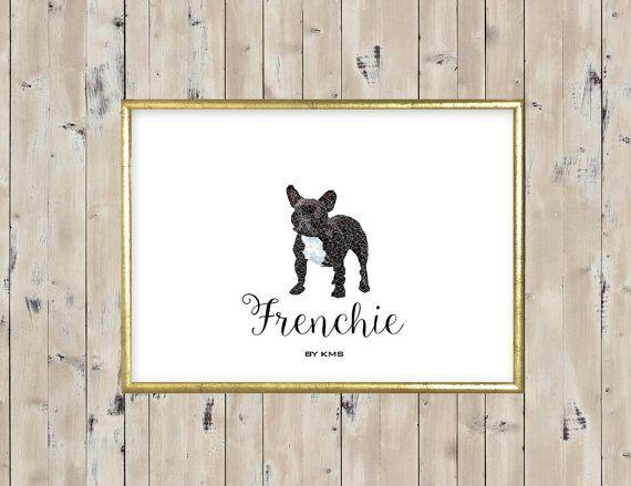 FRENCH BULLDOG printable. Black Frenchie dog by KeepMakingSmiles