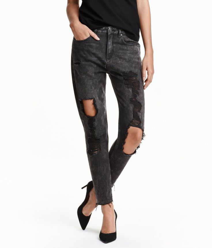 5-pocket jeans in washed denim with heavily distressed details, a regular waist, and tapered, ankle-length legs with raw-edge hems.| H&M Denim