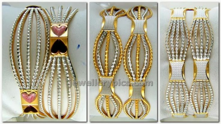 12 varieties of rhodium polished bangles in gold - Latest Jewellery Designs