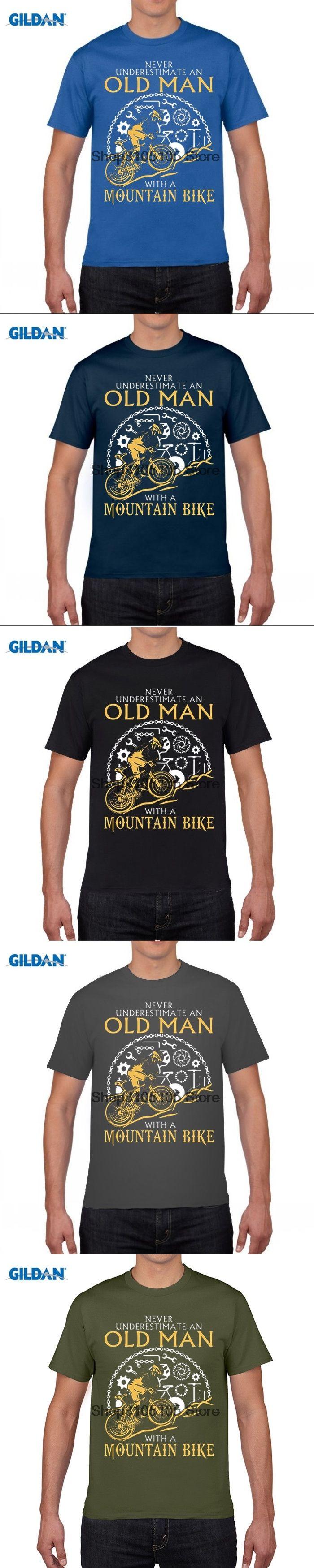 GILDAN designer t shirt Summer Mountain Biking Cyclist Old Men's Pre Cotton Short Sleeve Round Neck T-Shirt