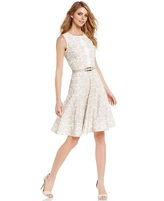 Anne Klein Sleeveless Floral-Embroidered Cotton Dress