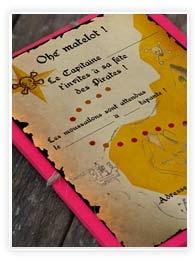 Des invitations pour une fête de pirates à imprimer