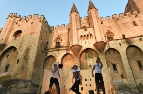 """Actors Thomas Pouget, Emilien-Diard Detoeuf and Moustafa Benaibout perform """"King Lear"""" by Shakespeare at the Palais des Papes, Avignon, July 2, 2015  Avignon Festival: the menu, the """"locomotives"""" and many discoveries  July 02 2015"""