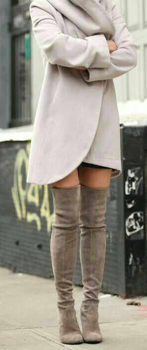 coat + above the knee boots