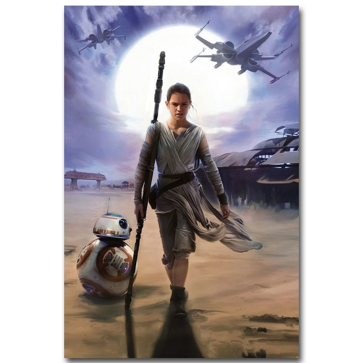 REY - Star Wars 7 The Force Awakens Art Silk Fabric Poster Print 13x20 24x36 inch Movie Picture for Room Wall Decor 020 #Affiliate