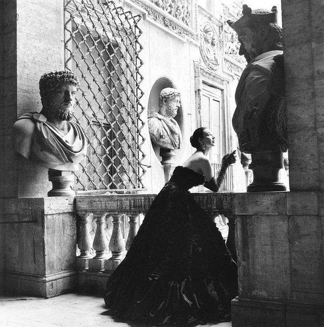 Dorian Leigh wearing a silk gown by Simonetta (La Duchessa Simonetta Colonna di Cesaró), Rome, 1955