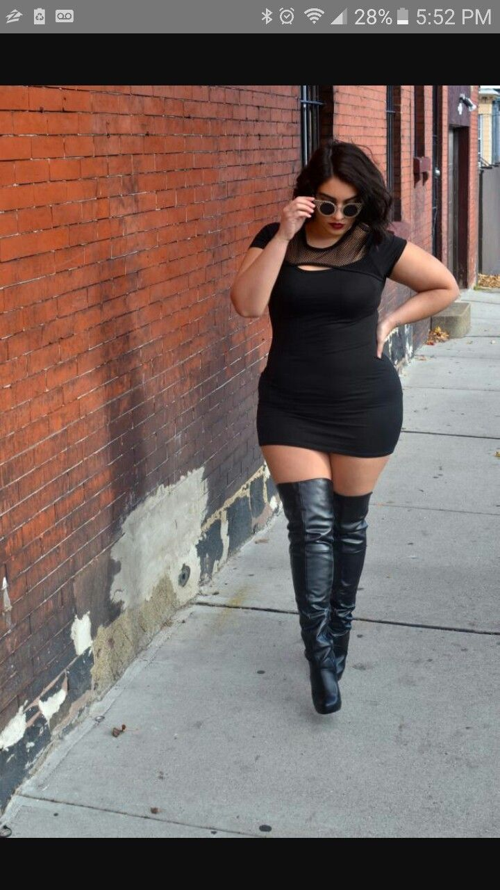 Plus Size Dress And Thigh High Boots Plus Size Fashion