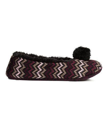 Gebreide pantoffels | Zwart/zigzag | Dames | H&M NL