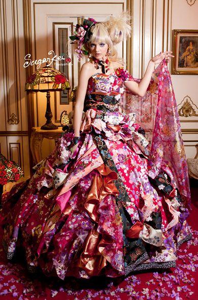 Crazy #wedding #dress made with #kimono fabric from Sugarkei.