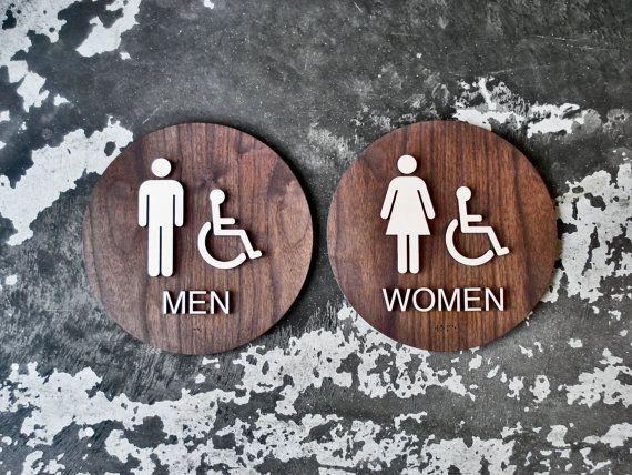 ADA Restroom Sign Set  Men & Women Bathroom  9 or