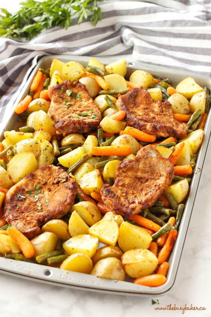 Easy Pork Chop Sheet Pan Dinner Recipe Pork Chop Dinner Pork Recipes Easy Healthy Recipes