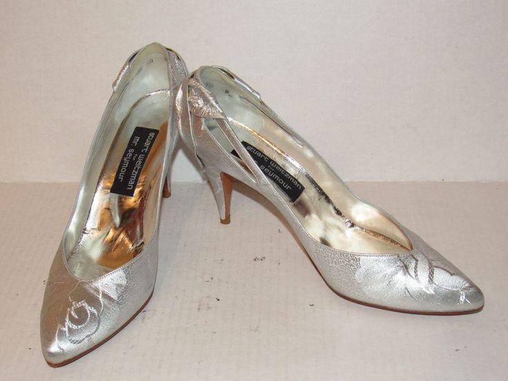 """Stewart Weitzman Silver Dress Shoes Heels 3 3/4"""" heel Mr. Seymore #StuartWeitzman #Strappy"""