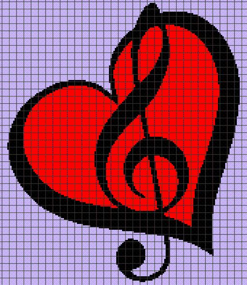 (4) Name: 'Crocheting : MUSIC NOTES 05 Graphghan Pattern
