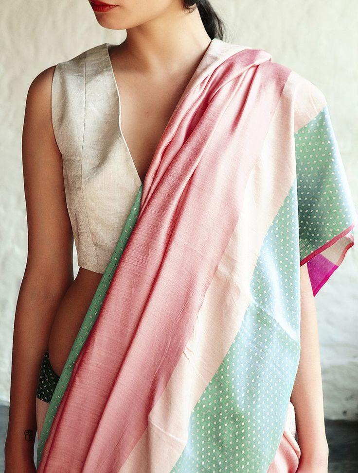 Buy Jeenat Peach Cotton-Silk Saree By Raw Mango Online at Jaypore.com