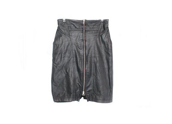 80s 90s vintage black leather skirt by Heddyhoo