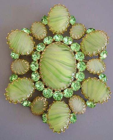 SCHREINER  unsigned green marbled  glass cabochons and green rhinestones set in gold tone huge brooch, 4-1/3.