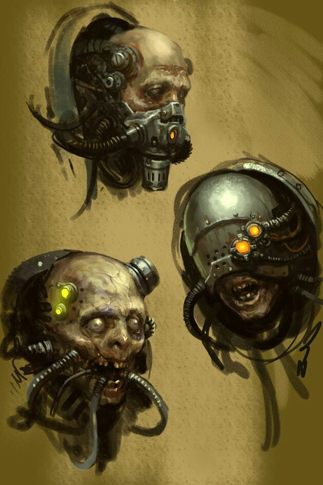 Art of Karl Kopinski FB page. howdy! Here's some servitor sketches from the Space marine xbox game I helped out on a few years back!