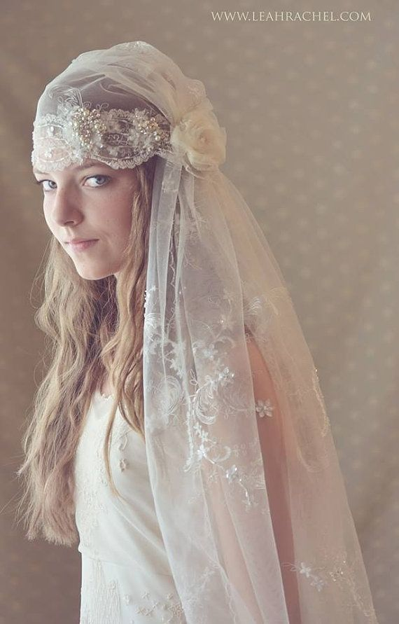 Romantic 1920's Downton Abbey Style  Made to Order, Juliet Veil With Pearl & Rhinestone Embellishment