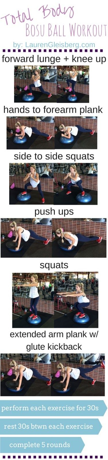 Total Body Bosu Ball Workout | click for full workout guides by Lauren Gleisberg health + fitness blog
