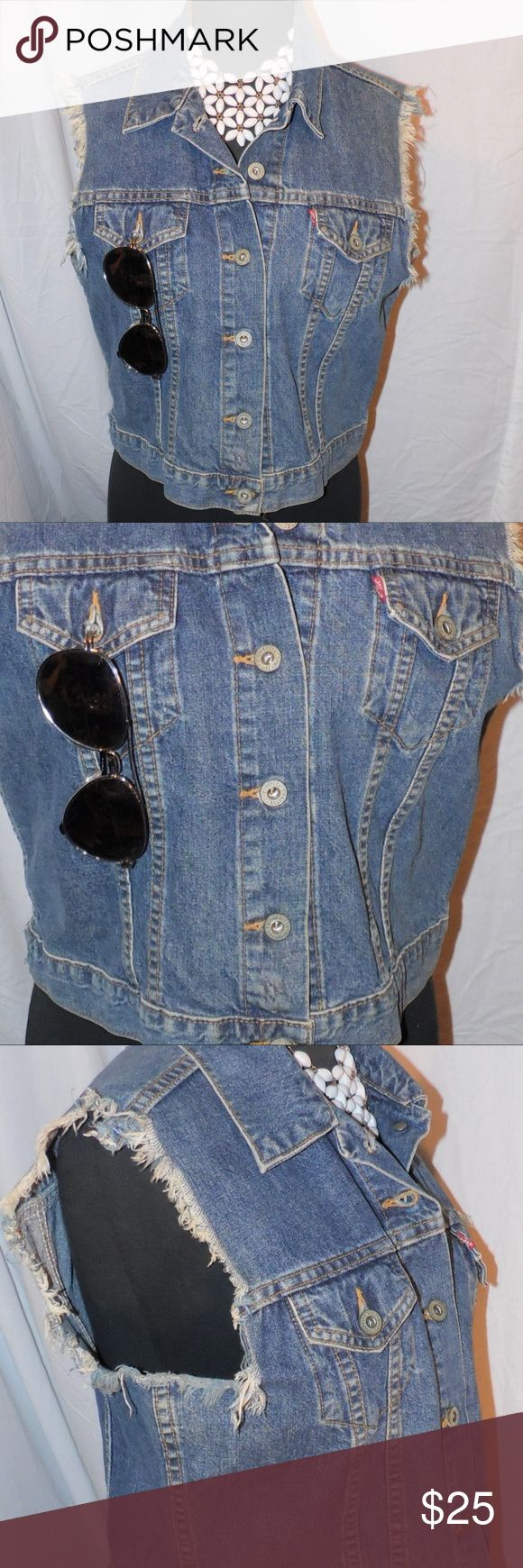 Levi Strauss & co. Jean Vest size L Levi Strauss & co. Jean Vest size L All Items are inspected and pictured before shipment in order to ensure top quality!! Bundle and Save!! Happy Poshing!!! **Accessories not included**  Brought to you by: Ari's Chic Dowri ;) Levi Strauss Jackets & Coats Vests