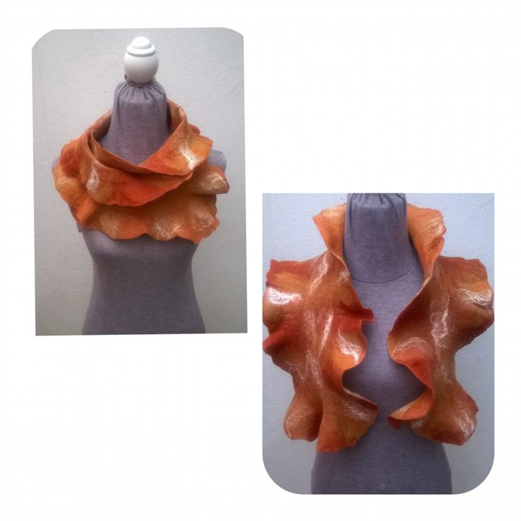 Felt Ruffle Scarf highlighted with white silks.  Wear it 6 ways.