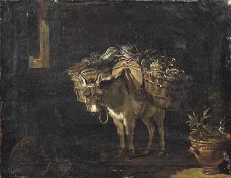 Jean-Baptiste Oudry (1686-1755), Un âne chargé de paniers de légumes, toile signée et datée « JB. Oudry/1741 », 48 x 61 cm. Frais compris : 99 450 €. Mardi 17 novembre, Neuilly-sur-Seine. Aguttes SVV. M. Millet.