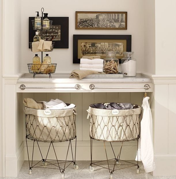 Pottery Barn - Laundry Baskets. Shelf styling.