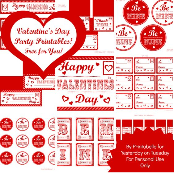 Valentine's Day Printable Party set at Yesterday On Tuesday, featured @printabledecor1