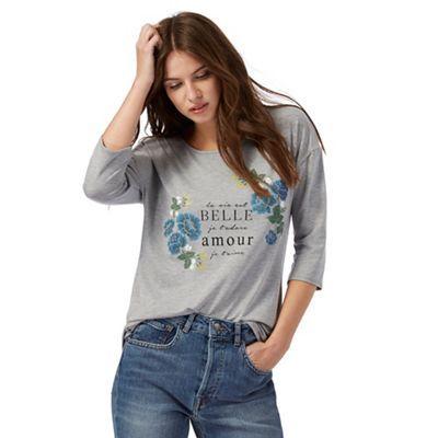 Red Herring Grey floral print t-shirt | Debenhams