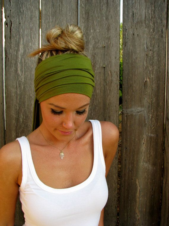 The Infinity Head Scarf In Moss Green Rayon Cotton Jersey Knit - Multi Way to Wear