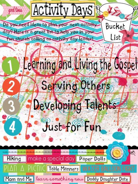 A wonderful list of ideas that you can do for Activity Days. @Abby Christine mcintier