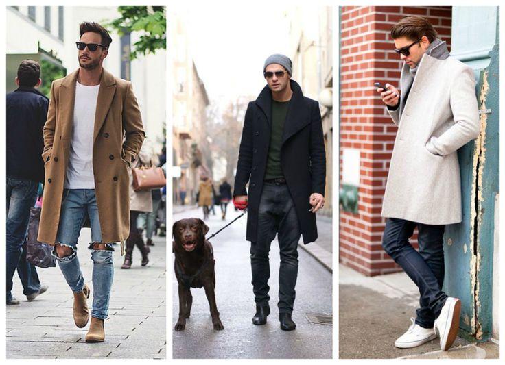 Fall, winter outfit for men - coat. Grey coat, camel coat and black coat.
