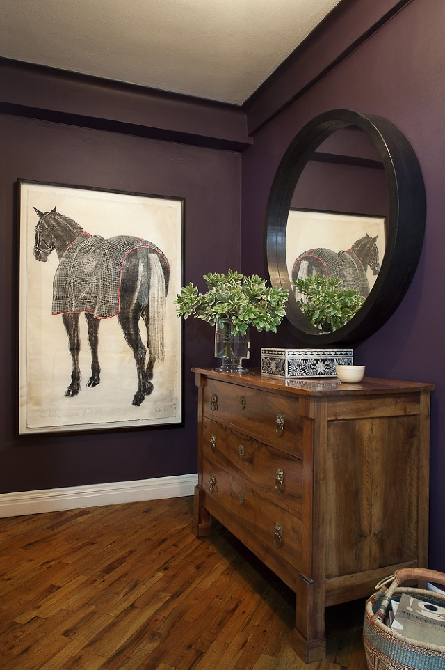 horse art in entry by Blair Harris Interior Design