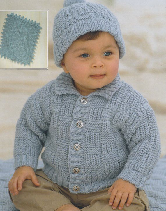66ea3ac9821f71 baby child knitting pattern cardigan pompom hat and blanket in double knit  from birth to age 6