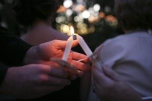 outdoor wedding ceremony & candles