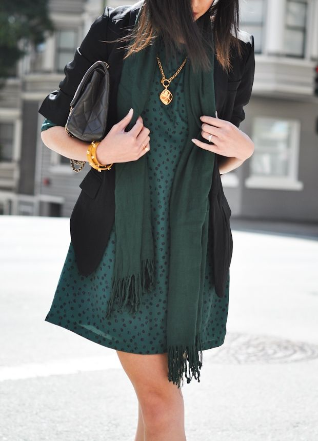 sea green printed dress, hunter green scarf, black blazer, gold accessories - 9to5chic