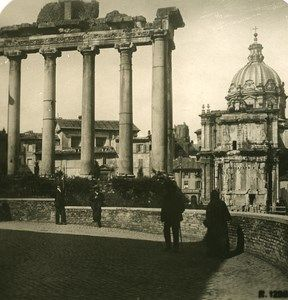 Italy Roma Forum Temple of Saturne Old NPG Stereo Photo 1900
