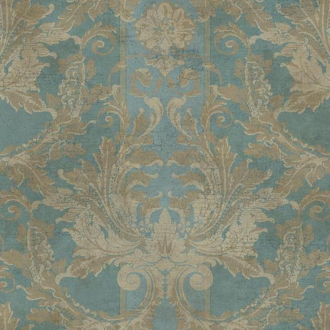 Aida Damask With Stripe Wallpaper In Blue And Gold Design By York  Wallcoverings