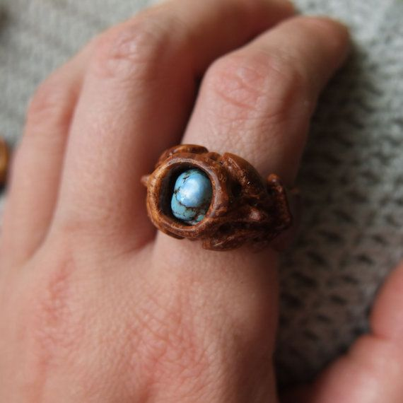 Statement wooden ring turquoise ring wood от WoollyWoodJewelry