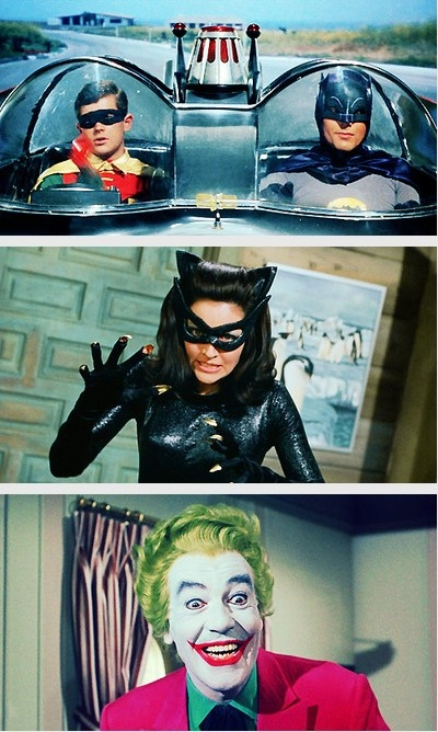 Batman 1966 use to have to go to the neighbors house so we could watch Barman in color. Adam West as Batman, Burt Ward as Robin, either Julie Newmar or Ertha Kitt as Cat Woman, and Vincent Price as The Joker