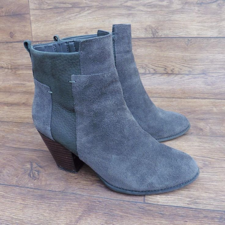 SIZE UK 3.5 MARKS & SPENCER M&S FOOTGLOVE GREY SUEDE & NUBUCK CASUAL ANKLE BOOTS | eBay