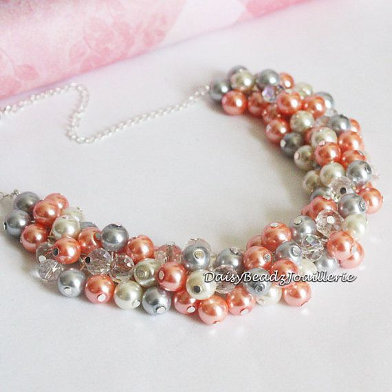 Coral and Gray Pearl Cluster Necklace by DaisyBeadzJoaillerie, $25.00