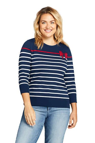 2bdb377bc9af8b Women's Plus Size 3/4 Sleeve Supima Cotton Crew Neck Sweater ...