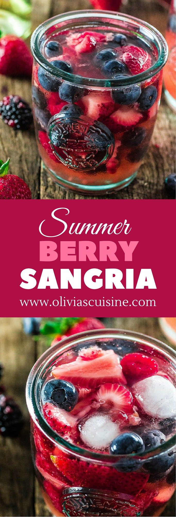 Summer Berry Sangria   www.oliviascuisine.com   A delicious summer sangria made with Moscato, strawberries, raspberries, blackberries and blueberries! #MiddleSister #DropsofWisdom #Sp