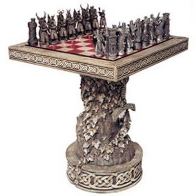 Arthurian Chess Set With Table And Display Base